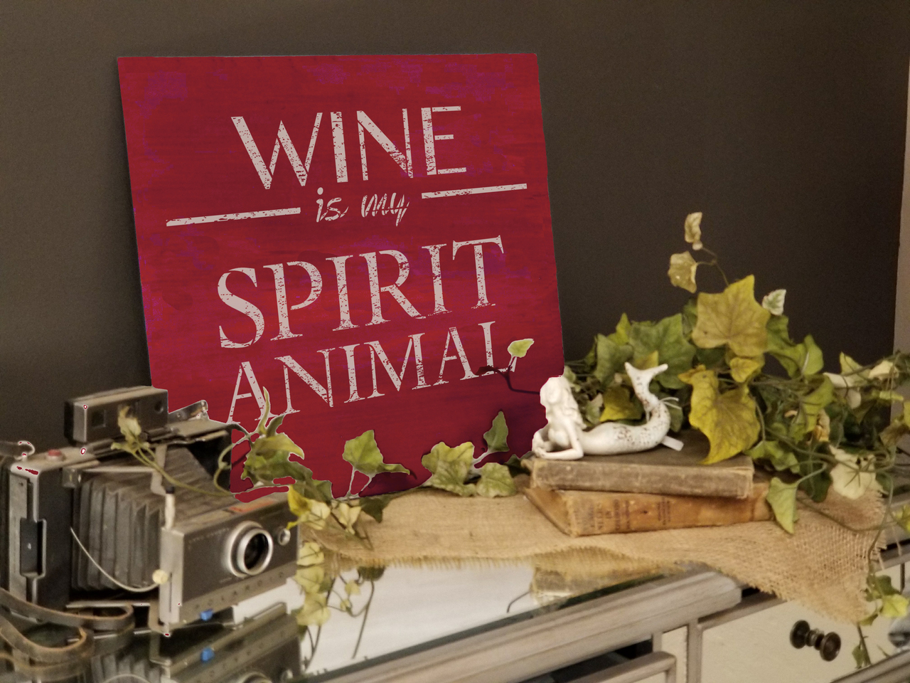"Wine Is My Spirit Animal Stencil by StudioR12 -  Bar Decor Word Art - 18"" x 18"" - STCL2406_4"