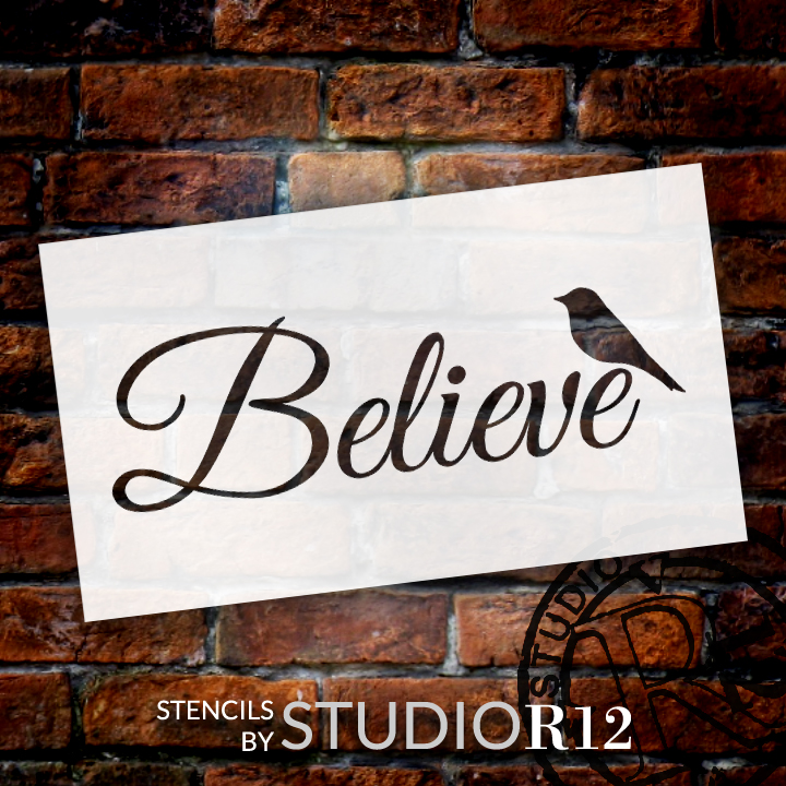 "Believe Word Stencil with Bird by StudioR12 -  Faith & Inspiration Word Art - 11"" x 5"" - STCL2412_1"
