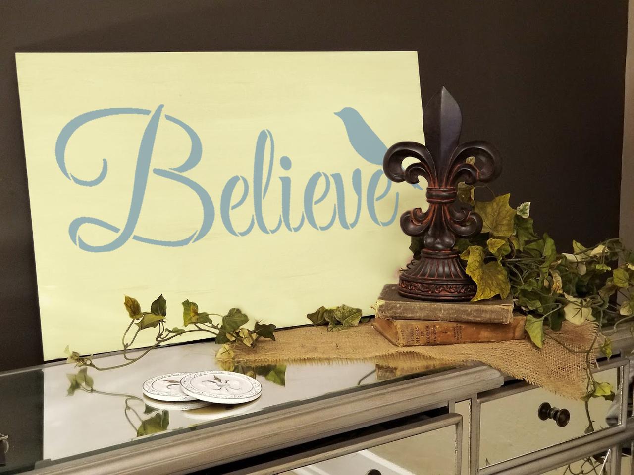 "Believe Word Stencil with Bird by StudioR12 -  Faith & Inspiration Word Art - 24"" x 9"" - STCL2412_4"