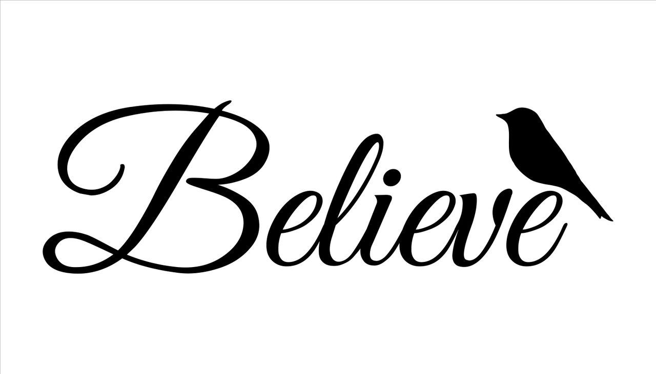 "Believe Word Stencil with Bird by StudioR12 -  Faith & Inspiration Word At - 30"" x 11"" - STCL2412_5"