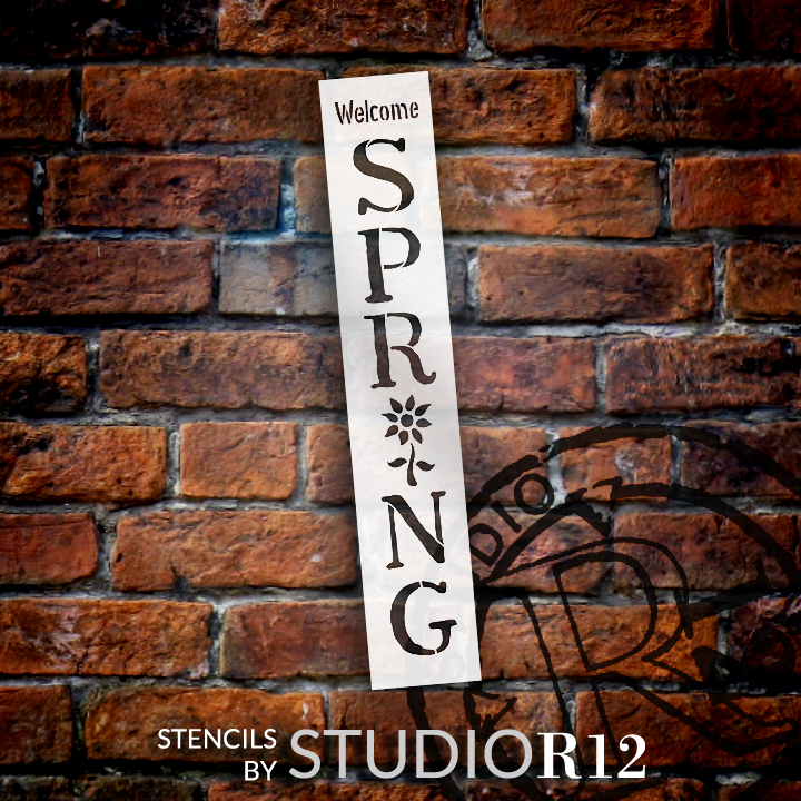 "Welcome Spring Stencil with flower by StudioR12 -  Porch Sign Word Art - 5"" x 30"" - STCL2399_1"