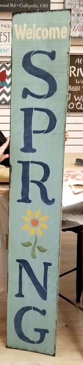"Welcome Spring Stencil with flower - 2 Part by StudioR12 -  Porch Sign Word Art - 7"" x 23"" - STCL2399_2"
