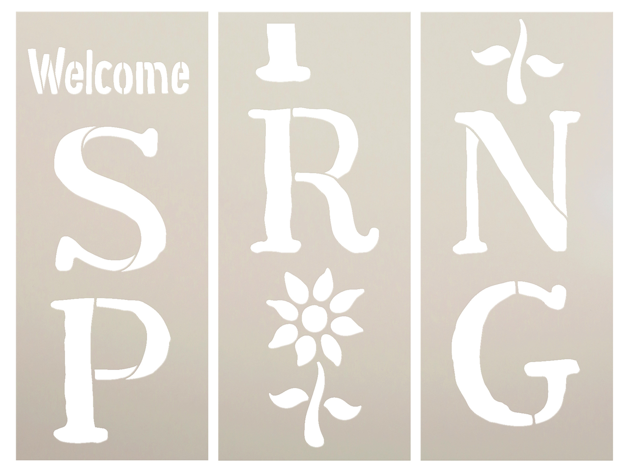 """Welcome Spring Stencil with flower - 3 Part by StudioR12 -  Porch Sign Word Art - 12"""" x 28"""" - STCL2399_4"""
