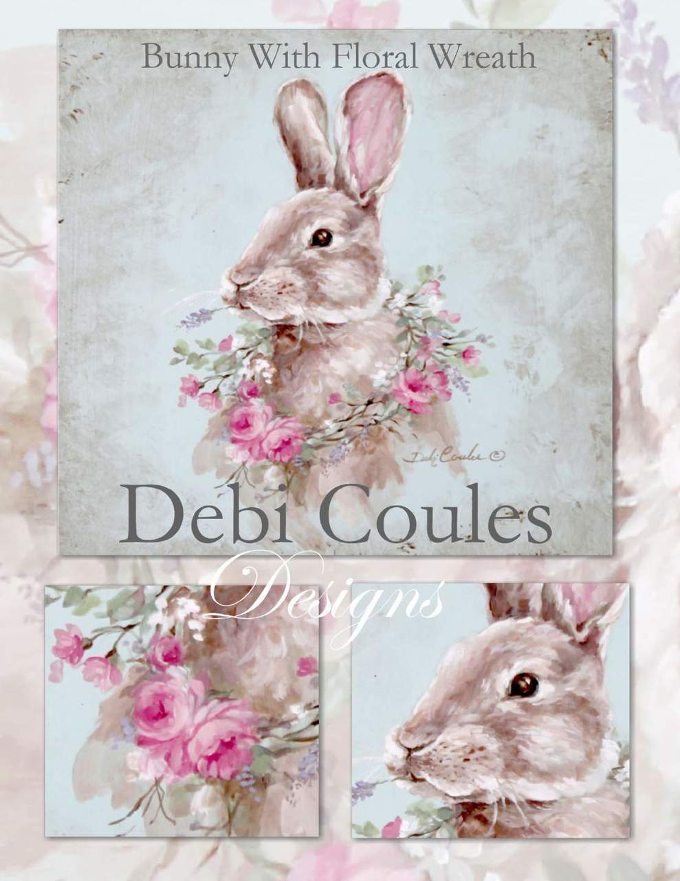 Bunny With Floral Wreath - E-Packet - Debi Coules