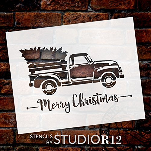 Little Red Truck With Merry Christmas Script Stencil - Choose Size