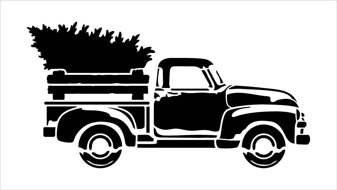 Little Red Truck With Christmas Tree Stencil - Choose Size
