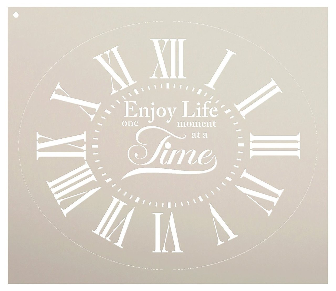 """Oval Clock Stencil w/Roman Numerals - Enjoy Life One Moment at a Time Letters - DIY Painting Farmhouse Country Home Decor Art - Select Size (14"""")"""