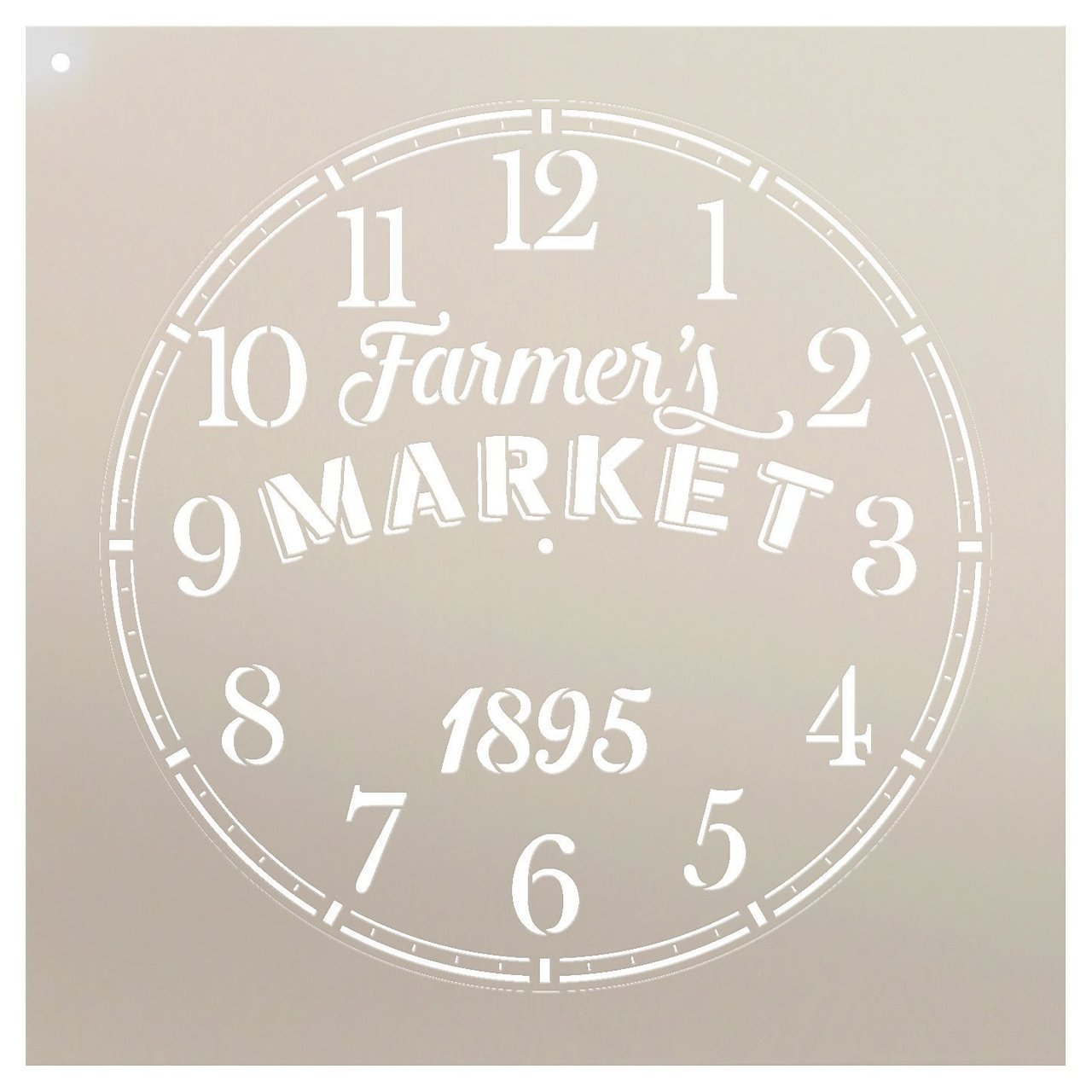 "Round Clock Stencil - Farmers Market Words - Small to Extra Large DIY Painting on Wood for Farmhouse Country Home Decor Walls - Select Size (18"")"