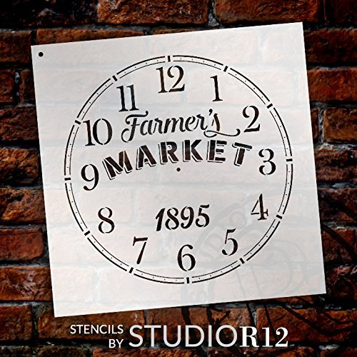 """Round Clock Stencil - Farmers Market Words - Small to Extra Large DIY Painting on Wood for Farmhouse Country Home Decor Walls - Select Size (18"""")"""