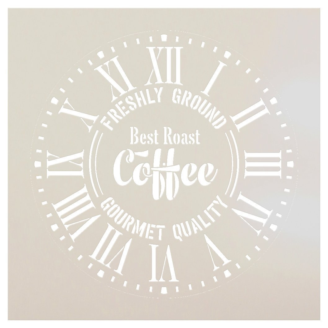 """Round Coffee Clock Stencil Roman Numerals - DIY Painting Wood Clocks Vintage Rustic Farmhouse Country Home Decor for Walls - Select Size (20"""" (2 Parts))"""