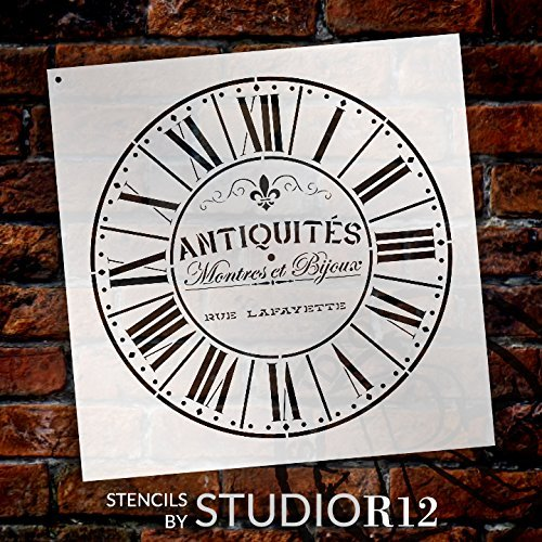 16 Parisian Roman Numerals Select Size French Antique Words DIY Paint Wood Clock Small to Extra Large Home Decor Round Clock Stencil