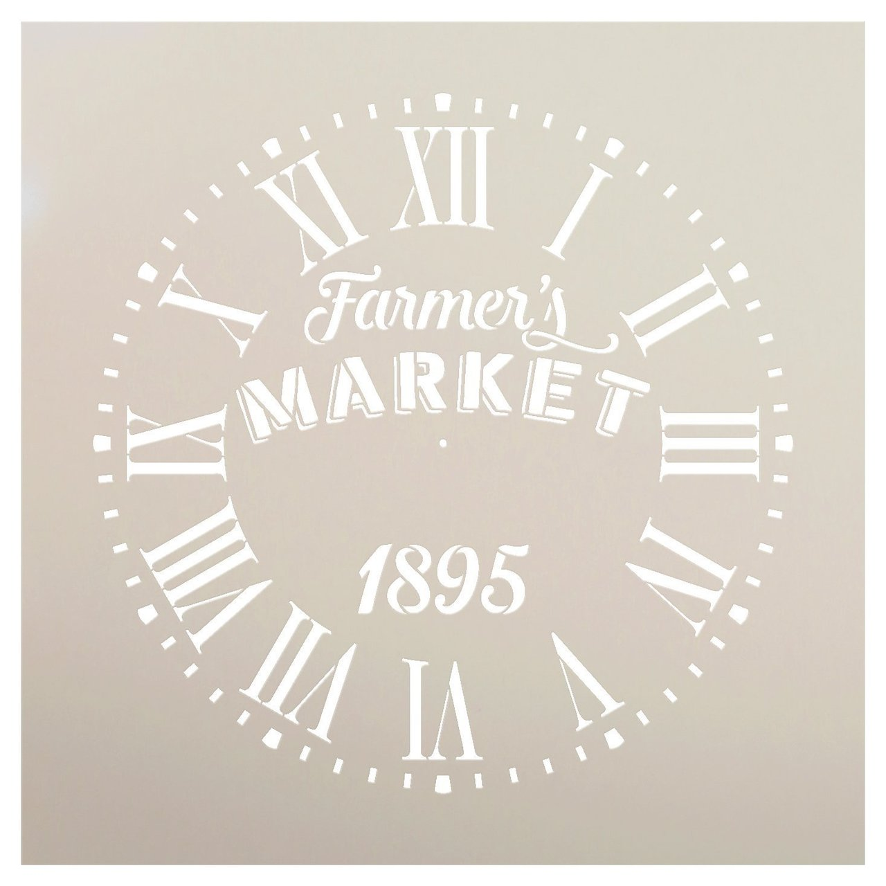 "Round Clock Stencil Roman Numerals - Farmers Market Letters - DIY Painting Vintage Rustic Farmhouse Country Home Decor Walls - Select Size (20"")"