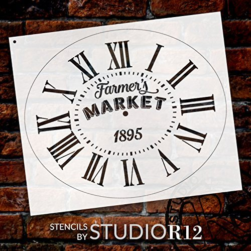 "Oval Clock Stencil w/Roman Numerals - Farmers Market Letters - DIY Painting Vintage Rustic Farmhouse Country Home Decor Walls - Select Size (20"")"
