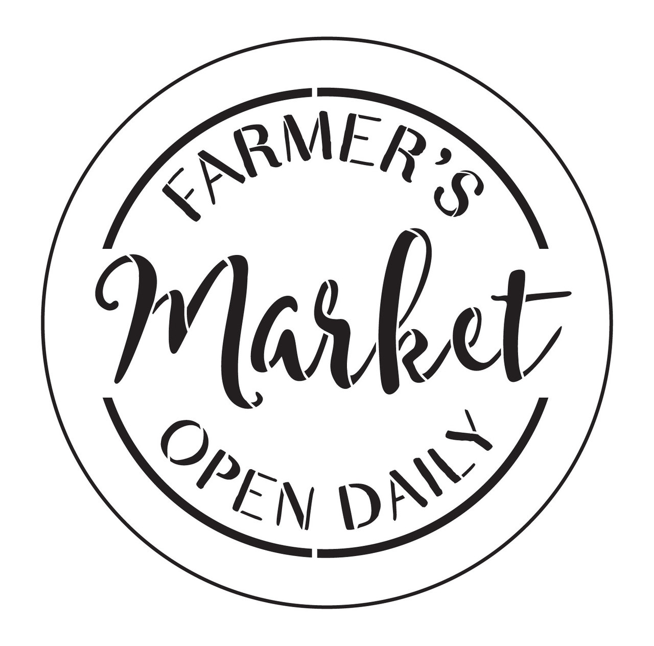 "Farmer's Market Open Daily Stencil by StudioR12 - Country Word Art - 8"" Round - STCL2456_1"