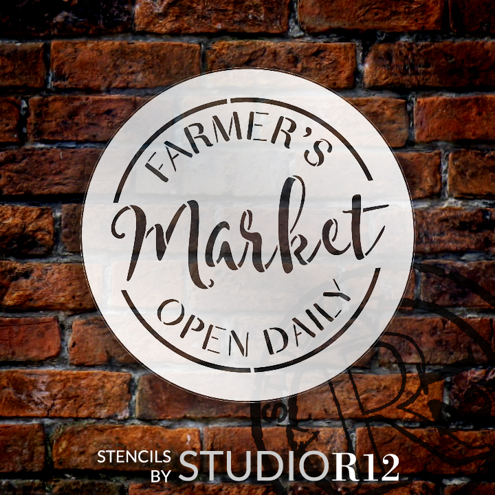 "Farmer's Market Open Daily Stencil by StudioR12 - Country Word Art - 15"" Round - STCL2456_3"