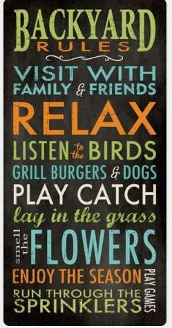 "Backyard Rules Stencil by StudioR12 -  Summer Word Art - 9"" x 19"" - STCL2411_1"