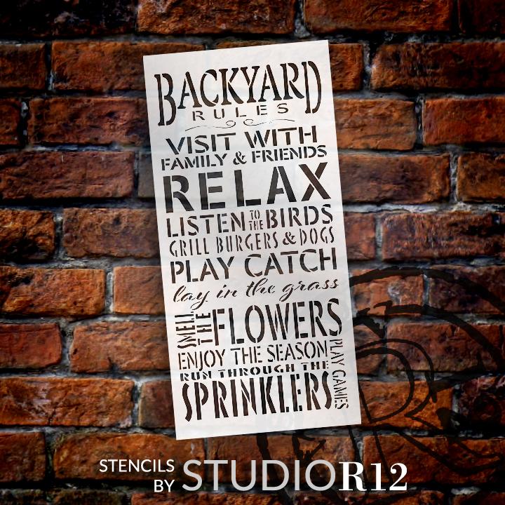 "Backyard Rules Stencil by StudioR12 -  Summer Word Art - 11"" x 23"" - STCL2411_2"