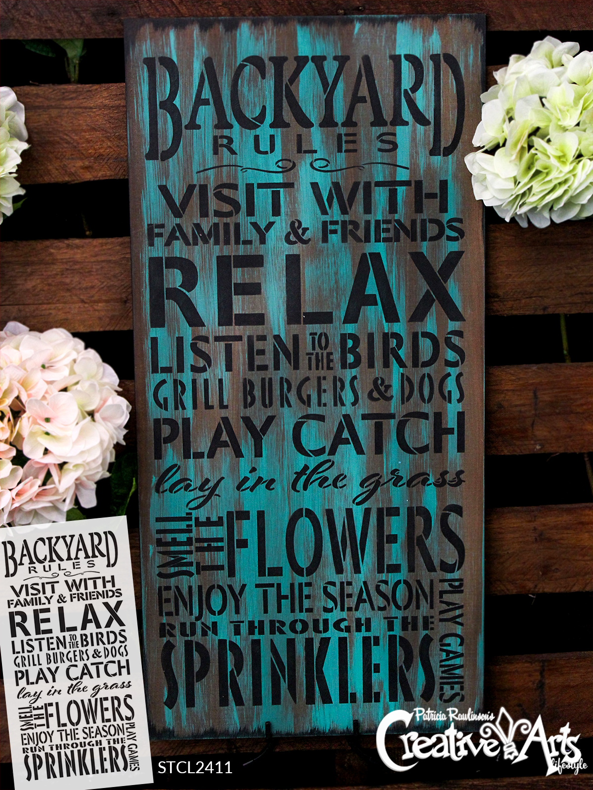 "Backyard Rules Stencil by StudioR12 -  Summer Word Art - 13"" x 27"" - STCL2411_3"