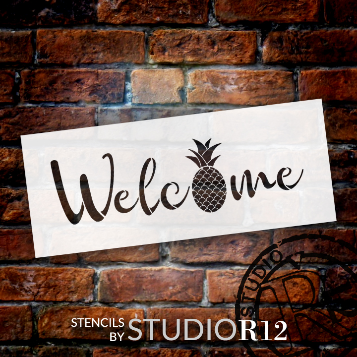 "Welcome Pineapple Stencil by StudioR12 -  Summer Fruit Word Art - 16"" x 6"" - STCL2403_1"