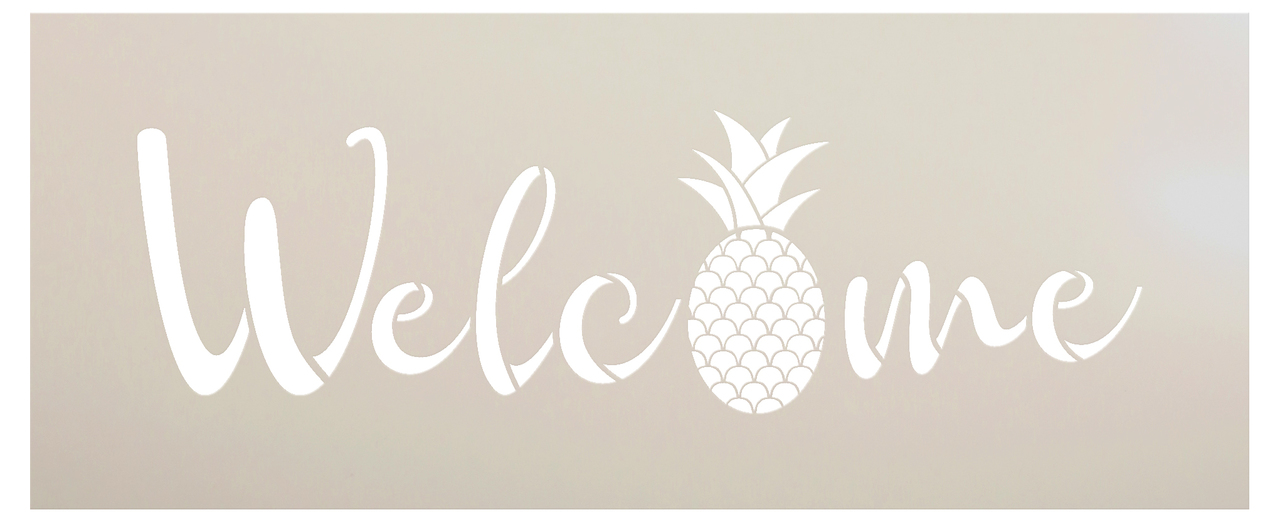 """Welcome Pineapple Stencil by StudioR12 -  Summer Fruit Word Art - 24"""" x 9"""" - STCL2403_3"""