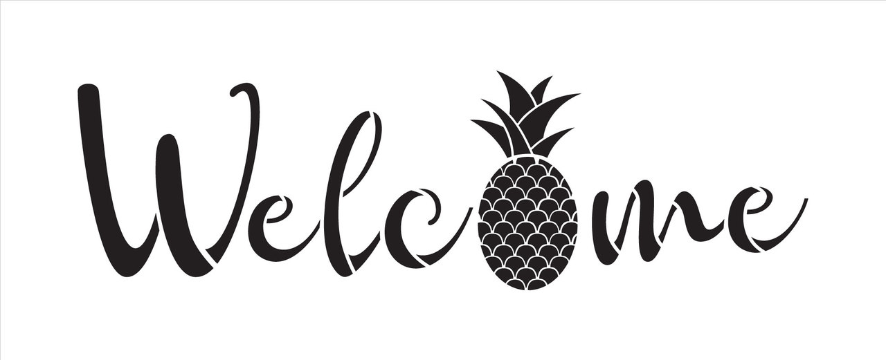 "Welcome Pineapple Stencil by StudioR12 -  Summer Fruit Word Art - 30"" x 11"" - STCL2403_4"