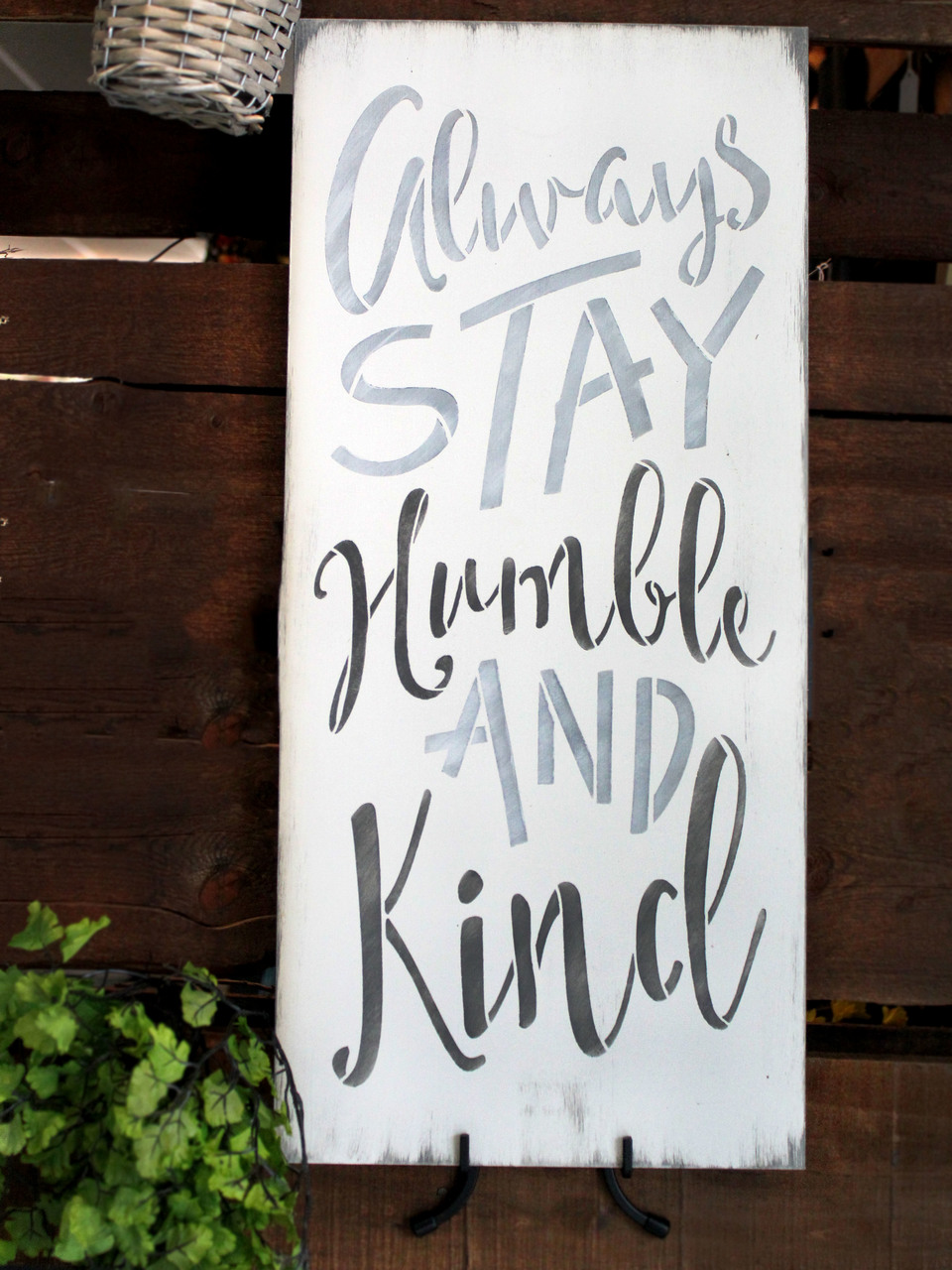 "Always Stay Humble And Kind Stencil by StudioR12 -  Trendy Word Art - 11"" x 24"" - STCL2474_4"