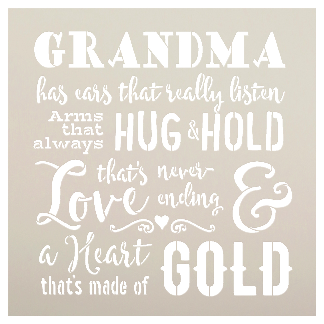 "Grandma - A Heart That's Made of Gold Stencil by StudioR12 -  Family Word Art - 15"" x 15"" - STCL2495_1"