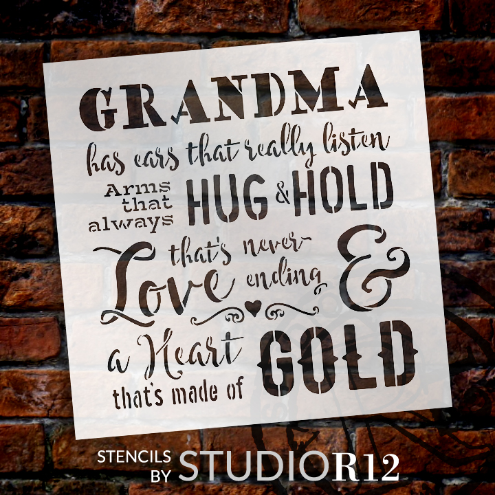 "Grandma - A Heart That's Made of Gold Stencil by StudioR12 -  Family Word Art - 18"" x 18"" - STCL2495_2"