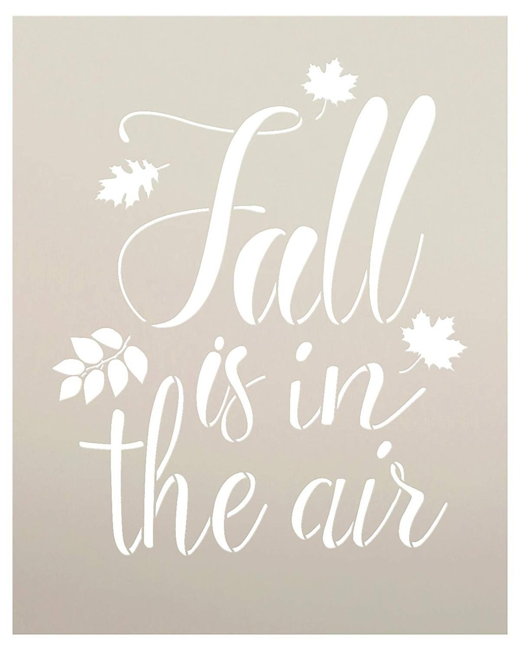 Fall is in The Air Stencil by StudioR12 | Script Letters | Reusable Word Template for Painting on Wood | DIY Home Decor Sign | Fall Leaves Autumn |Chalk, Mixed Media and Craft |Select Size