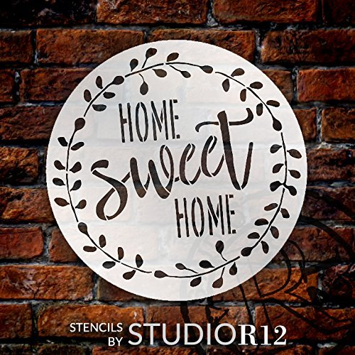 Home Sweet Home Stencil with Laurel Wreath by StudioR12   Reusable Mylar Template for Painting Wood Signs   Round Design   DIY Home Decor Country Farmhouse Style   Mixed Media   Select Size