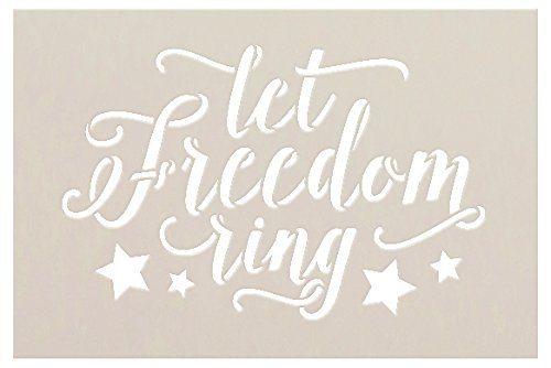 Let Freedom Ring Stencil with Stars by StudioR12 Script Style Reusable Word Template for Painting on Wood DIY Home and Porch Decor Patriotic Americana 4th of July Mixed Media Select Size