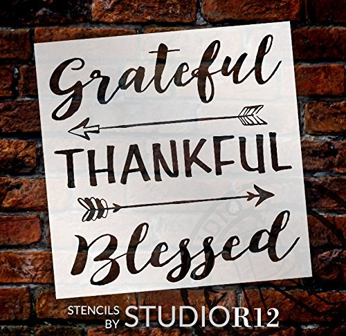 Grateful Thankful Blessed Stencil with Arrows by StudioR12   Reusable Word Template for Painting on Wood   DIY Home Decor   Thanksgiving Signs   Fall and Autumn   Mixed Media  Select Size
