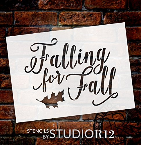 Falling for Fall Stencil by StudioR12| Script Letters | Reusable Word Template for Painting on Wood | DIY Home Decor Signs Fall Farmhouse Leaves Autumn Chalk Mixed Media Craft Select Size