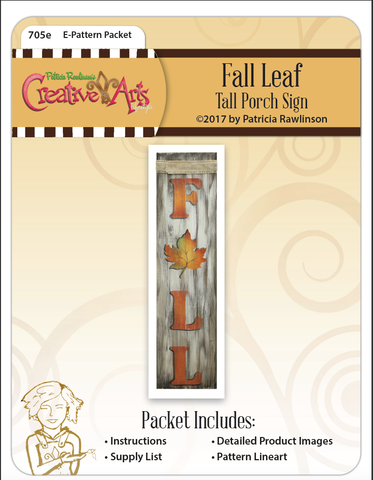 Fall Leaf Tall Porch Sign Pattern Packet - Patricia Rawlinson