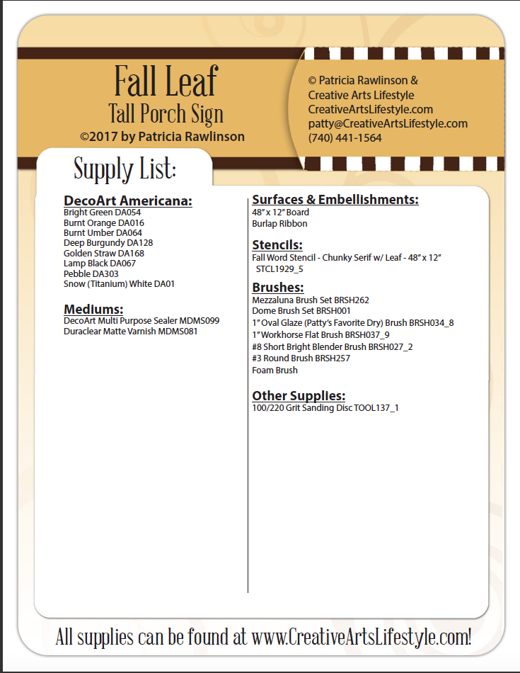 Fall Leaf Tall Porch Sign E-Packet - Patricia Rawlinson