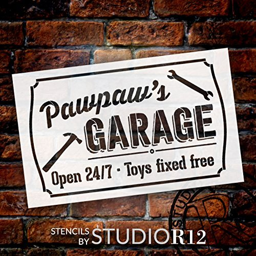 Pawpaw's Garage - Open 24/7 Sign Stencil by StudioR12   Reusable Mylar Template   Use to Paint Wood Signs - Pallets - DIY Grandpa Gift - Select Size