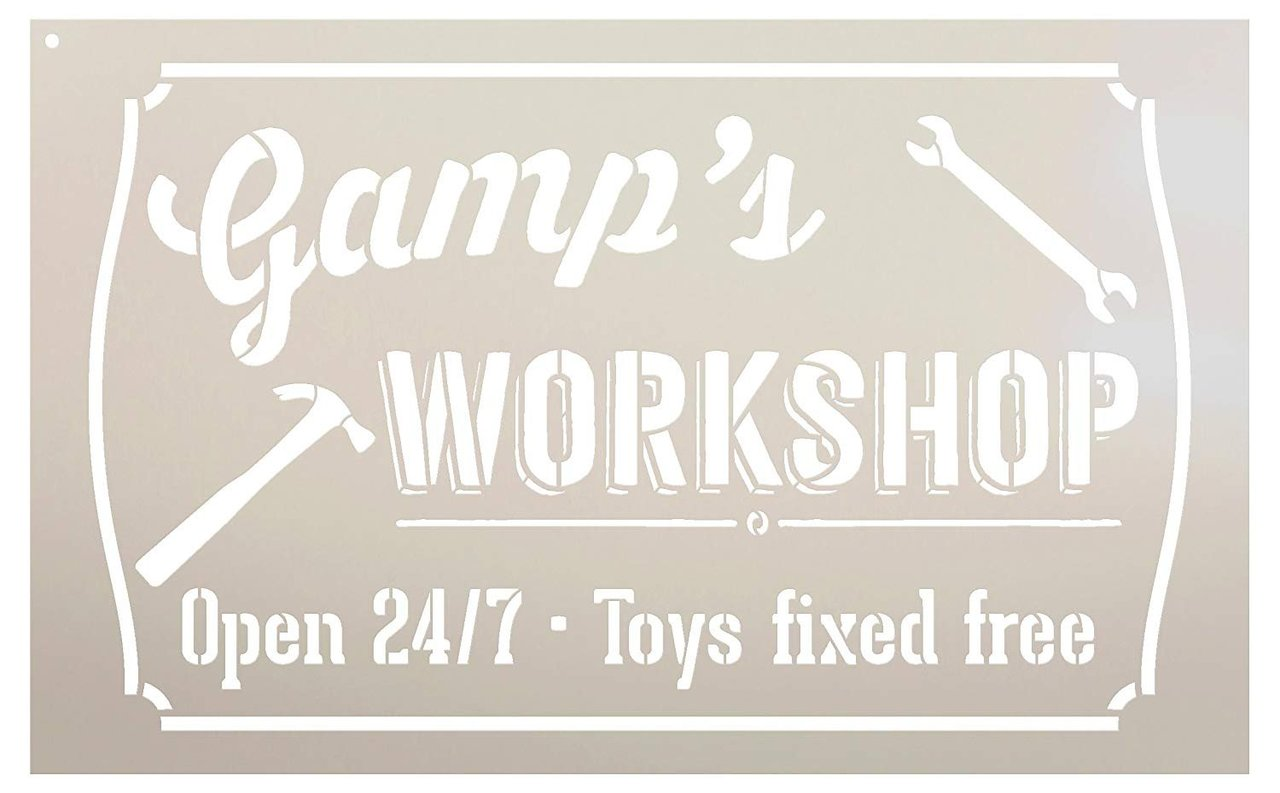Gamp's Workshop - Open 24/7 Sign Stencil by StudioR12 | Reusable Mylar Template | Use to Paint Wood Signs - Pallets - DIY Grandpa Gift - Select Size