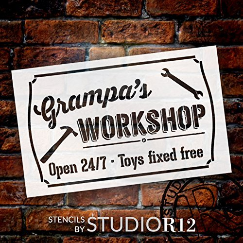 Grampa's Workshop - Open 24/7 Sign Stencil by StudioR12 | Reusable Mylar Template | Use to Paint Wood Signs - Pallets - DIY Grandpa Gift - Select Size