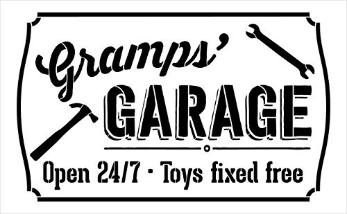 Gramps' Garage - Open 24/7 Sign Stencil by StudioR12 | Reusable Mylar Template | Use to Paint Wood Signs - Pallets - DIY Grandpa Gift - Select Size