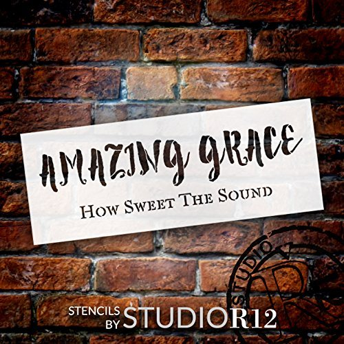 Amazing Grace How Sweet The Sound Stencil by StudioR12   Reusable Mylar Template   Use to Paint Wood Signs - Pillows - Musical Decor - DIY Home Decor - Select Size