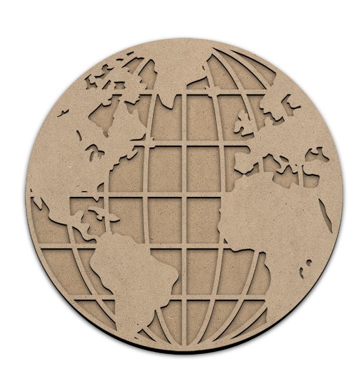 "World Globe Overlay with Base - 12"" x 12"" - WDSF1421_1"