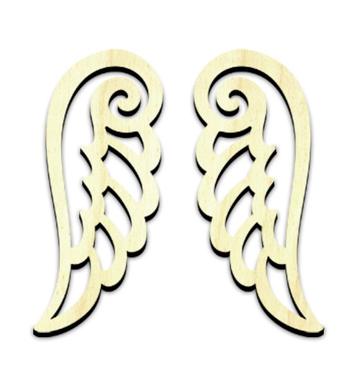 "Elegant Angel Wing Embellishments - Set of 2 - 3"" x 1-3/8"""