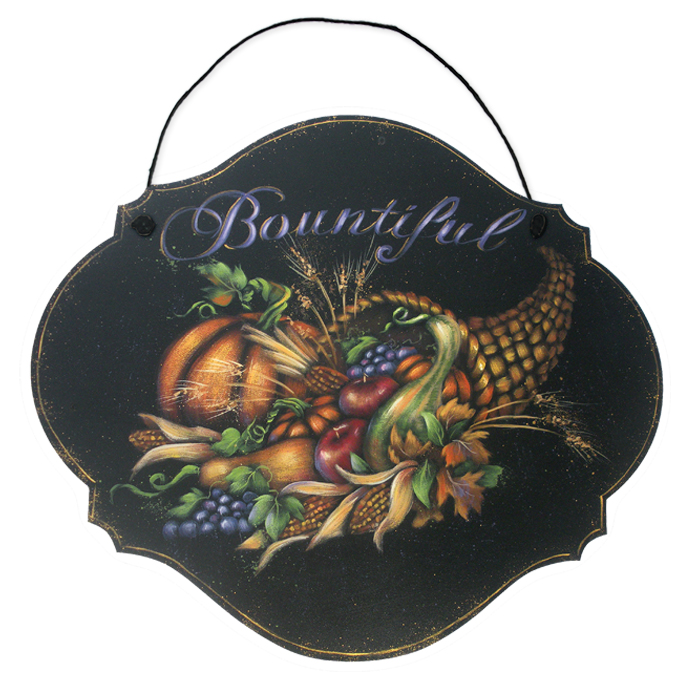 "Printed Art Wood Sign - Bountiful Harvest 9""x 10.5"""