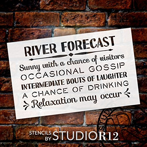 "River Forecast - Sunny with a Chance of Visitors Stencil by StudioR12 | Reusable Mylar Template | Use to Paint Wood Signs - Front Door - Entry - Porch - DIY Summer Decor - Select Size (13"" x 8"")"