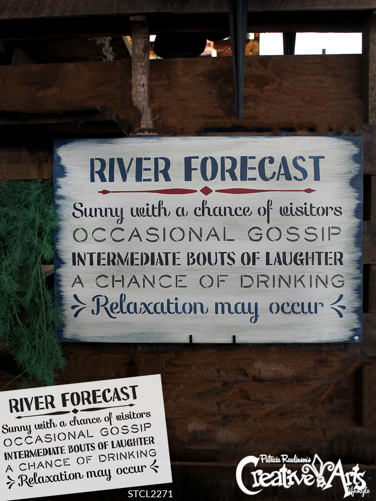 """River Forecast - Sunny with a Chance of Visitors Stencil by StudioR12   Reusable Mylar Template   Use to Paint Wood Signs - Front Door - Entry - Porch - DIY Summer Decor - Select Size (13"""" x 8"""")"""