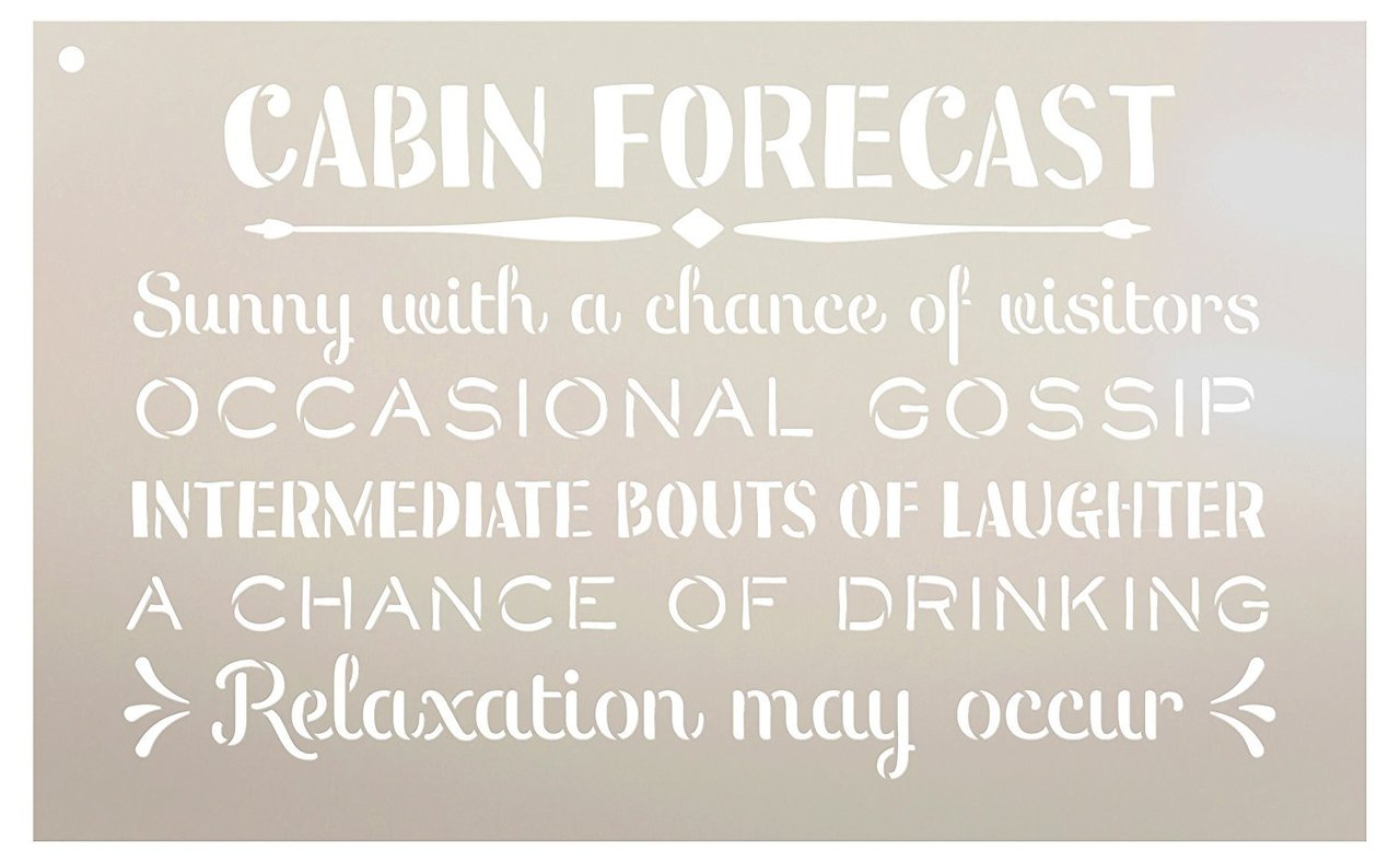 Cabin Forecast - Sunny with a Chance of Visitors Stencil by StudioR12   Reusable Mylar Template   Use to Paint Wood Signs - Front Door - Entry - Porch - DIY Summer Decor - Select Size