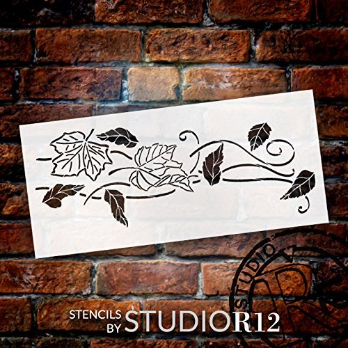 Blowing Leaves Stencil by StudioR12   Reusable Mylar Template   Autumn Style - Use to Paint Wood Signs - Wall Art - Pallets - DIY Fall Home Decor - Select Size