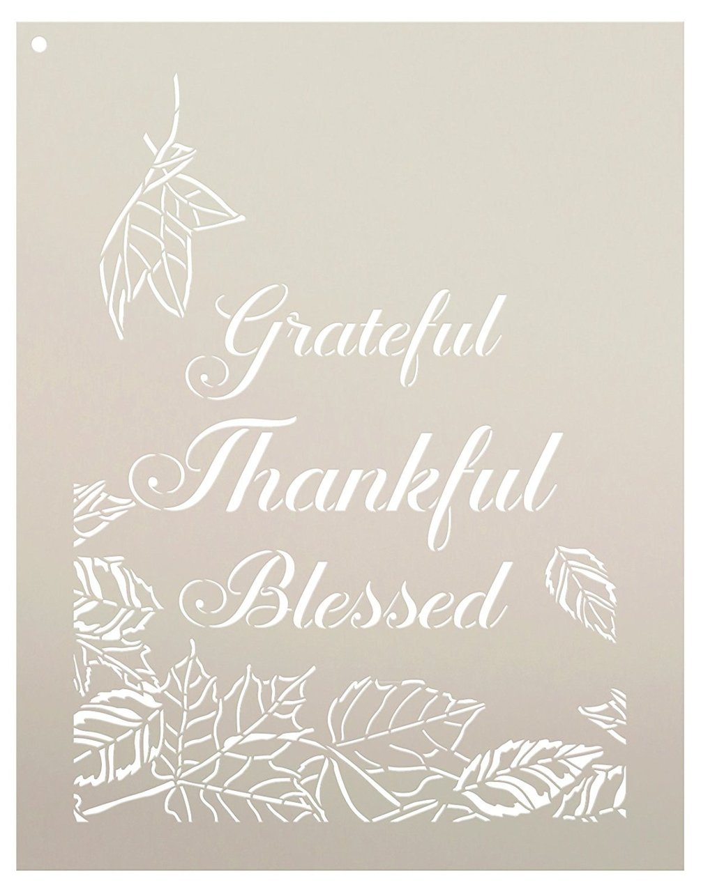 Grateful Thankful Blessed Leaves Stencil by StudioR12 | Reusable Mylar Template | Use to Paint Wood Signs - Wall Art - Pallets - DIY Fall Home Decor - Select Size