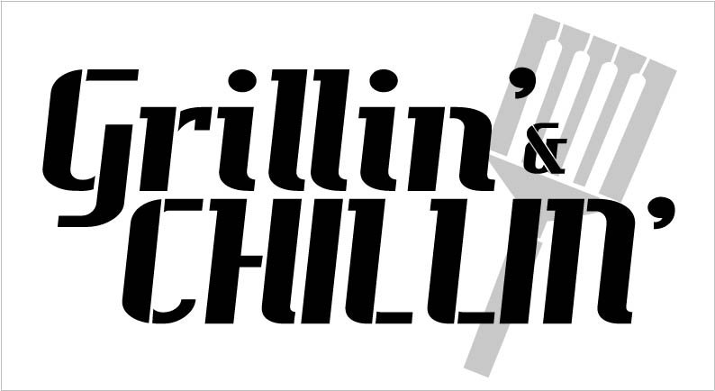 Grillin' & Chillin' with Spatula Stencil - 2 Part - by StudioR12 | Reusable Mylar Template | Use to Paint Wood Signs - Aprons - Pallets - DIY Grillmaster Decor - Select Size