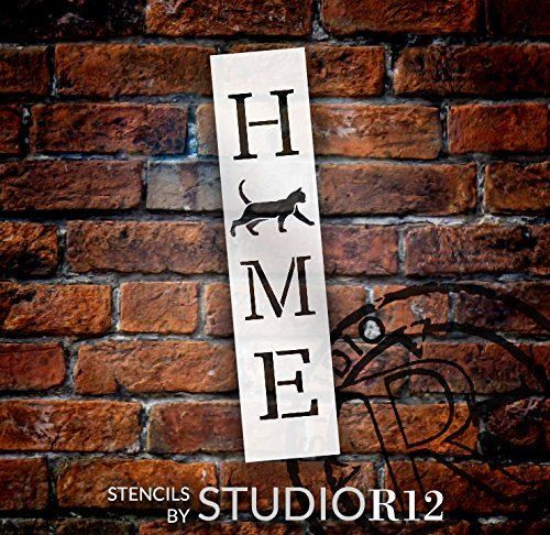 Home with Cat - Vertical Stencil by StudioR12 | Reusable Mylar Template | Use to Paint Wood Signs - Pallets - Banners - DIY Animal Lover Home Decor - Select Size